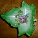 ANTIQUE PORCELAIN FIGURAL DISH MAPLE LEAF GEEN ROSES DISH JAPAN HAND PAINTED