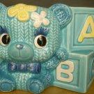 VINTAGE CHARMING BLUE CERAMIC TEDDY BEAR TRINKET BOX NURSERY ROOM DECOR R 9114