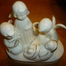 VINTAGE WHITE PORCELAIN FIGURINE 3 ANGELS AND BABY NATIVITY CANDLE HOLDER JAPAN