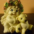 CHARMING MINIATURE FIGURINE ANGEL CHERUB SPRING FLOWERS TEDDY BEAR