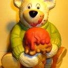 CUTE PORCELAIN BISQUE BEAR WITH ICE CREAM PIGGY COIN BANK SNOWY BEAR BY NANCO