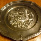 VINTAGE UNIQUE PEWTER DECORATIVE PLATE WILD TURKEY THANKSGIVING