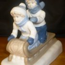 CHARMING KIDS SLEDDING PORCELAIN FIGURINE PAUL SEBASTIAN PS MEXICO LLADRO LIKE