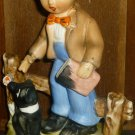 CHARMING VINTAGE PORCELAIN FIGURINE HUMMEL LIKE BOY WITH TERRIER DOG JAPAN