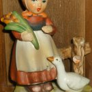 CHARMING VINTAGE PORCELAIN FIGURINE HUMMEL LIKE GIRL WITH A GOOSE JAPAN