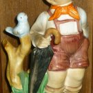 CHARMING VINTAGE PORCELAIN FIGURINE HUMMEL LIKE SCHOOL BOY BIRD  JAPAN