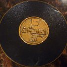RARE UNIQUE EDS INDEPENDENT COMPANY SOLID BRASS CORK LINED COASTER 1996