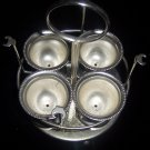 NICE METAIL SILVERPLATED? SET OF 4 EGG HOLDERS WITH CADDY