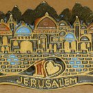 VINTAGE SOLID BRONZE ENAMEL JUDAICA JERUSALEM FOOTED NAPKIN HOLDER