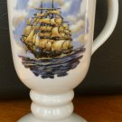 VINTAGE PORCELAIN PEDESTAL COFFEE TEA MUG BY DIXON ART STUDIOS 24K SAILBOAT