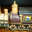 RAILROAD TRAIN STEAM ENGINE FIGURINE HARD RESIN HAND PAINTED