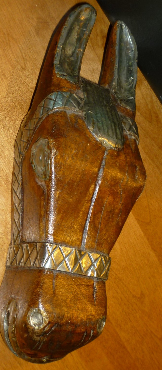 UNIQUE WOOD CARVING W/METAL HAMMERED ACCENTS HORSE HEAD WALL HANGING SCULPTURE