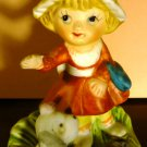 VINTAGE PORCELAIN BISQUE HOMCO FIGURINE GIRL WITH A DOG