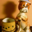 VINTAGE 1975 JASCO LUVKIN CRITTERS BULDOG GOLF PLAYER TOOTHPICK CANDLE HOLDER
