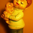 CHARMING VINTAGE CERAMIC HAND PAINTED FIGURINE BOY WITH A DOG