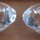 BEAUTIFUL CRYSTAL GLASS ROUND PRISM CANDLEHOLDER SET OF 2