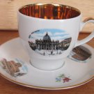 VINTAGE WINTERLING SCHWARZENBACH BAVARIA 24K GOLD PLATED CUP/SAUCER ROME TRAVEL