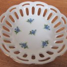 VINTAGE FINE PORCELAIN CANDY NUT LACE DISH LICHTE GDR GERMANY BLUE FLOWERS