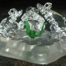 CHARMING CRYSTAL GLASS FROGS ON A LILY PAD FIGURINE