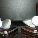 BEAUTIFUL MAHOGONY WOOD FIGI GOLF CLUB BALLS #4 BOOKENDS SET OF 2