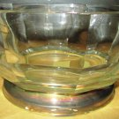 BEAUTIFUL GLASS SILVERPLATE SALAD BOWL W/ SERVING FORK & SPOON ITALY FRUIT VASE