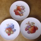 SCHUMANN ARZBERG GERMANY SET OF 3 BAVARIA #84 FRUIT DESERT PLATES HANDPAINTED