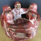 VINTAGE PERU CLAY CERAMIC CANDLE HOLDER CIRCLE OF FRIENDS FOLK ART