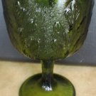 VINTAGE AVOCADO GREEN GLASS FROSTED GOBLET FTD WOODLAND FERN RELIEF PATTERN
