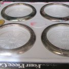 "BEAUTIFUL LEONARD ITALY CRYSTAL GLASS SILVERPLATE BAND SET OF 4 COASTERS 4"" A"