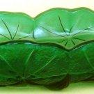 VINTAGE ORIGINAL GREEN GLASS INDIANA GLASS LILY PONS MARIGOLD RELISH BOAT HANDLE