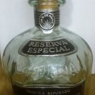 BEAUTIFUL DECANTER EMPTY GLASS COFRADIA TEQUILA REPOSADO BOTTLE CORK STOPPER