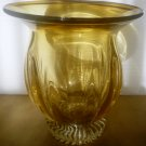 GORGEOUS VINTAGE MURANO LIGHT AMBER GLASS CLEAR BASE PEDESTAL VASE