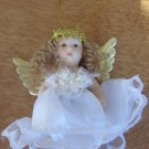 "CHARMING CHRISTMAS TREE PORCELAIN  2"" ANGEL ORNAMENT VERY DETAILED"