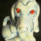 CHARMING GLAZED BLUE CERAMIC BASSET HOUND DOG FIGURINE WITH RHINESTONE EYES