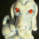 CHARMING GLAZED BLUE CERAMIC BASSET HOUND DOG FIGURINE WITH RHINESTONE EYES