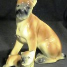 CHARMING PORCELAIN BOXER DOG & PUPPY SET OF 2 FIGURINES