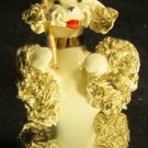 GORGEOUS VINTAGE LEFTON PORCELAIN SPAGHETTI POODLE W/UMBRELLA FIGURINE GOLD