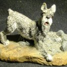 ADORABLE MINIATURE FIGURINE OF PLAYING AIREDALE TERRIER DOG FELT LINED