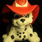 ADORABLE PAINTED CERAMIC DALMATIAN PUPPY DOG FIGURINE FIRE DEPARTMENT FD HELMET