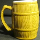 VINTAGE GLAZED CERAMIC BARREL STEIN MUG SMALL