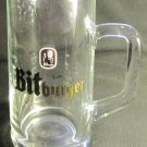 RASTAL BITBURGER 0.5 LITER CLEAR GLASS GERMAN BEER MUG STEIN TANKARD GOLD LOGO