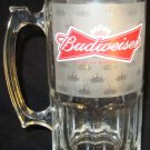 HUGE CLEAR GLASS CLASSIC LOGO BUDWEISER BEER STEIN TANKARD