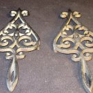 VINTAGE CAST IRON J.Z.H. LEAF DESIGN TRIVET HOT PLATE WALL DECOR SET OF 2