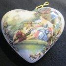 VINTAGE PORCELANE HANDPAINTED PASTORALE SCENE ORNAMENT POTPOURRY POMANDER HEART