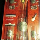 GORGEOUS ARTINA PEWTER SKS SCHNAPS VODKA SET RUSSIAN TROIKA DECANTER SHOT GLASS