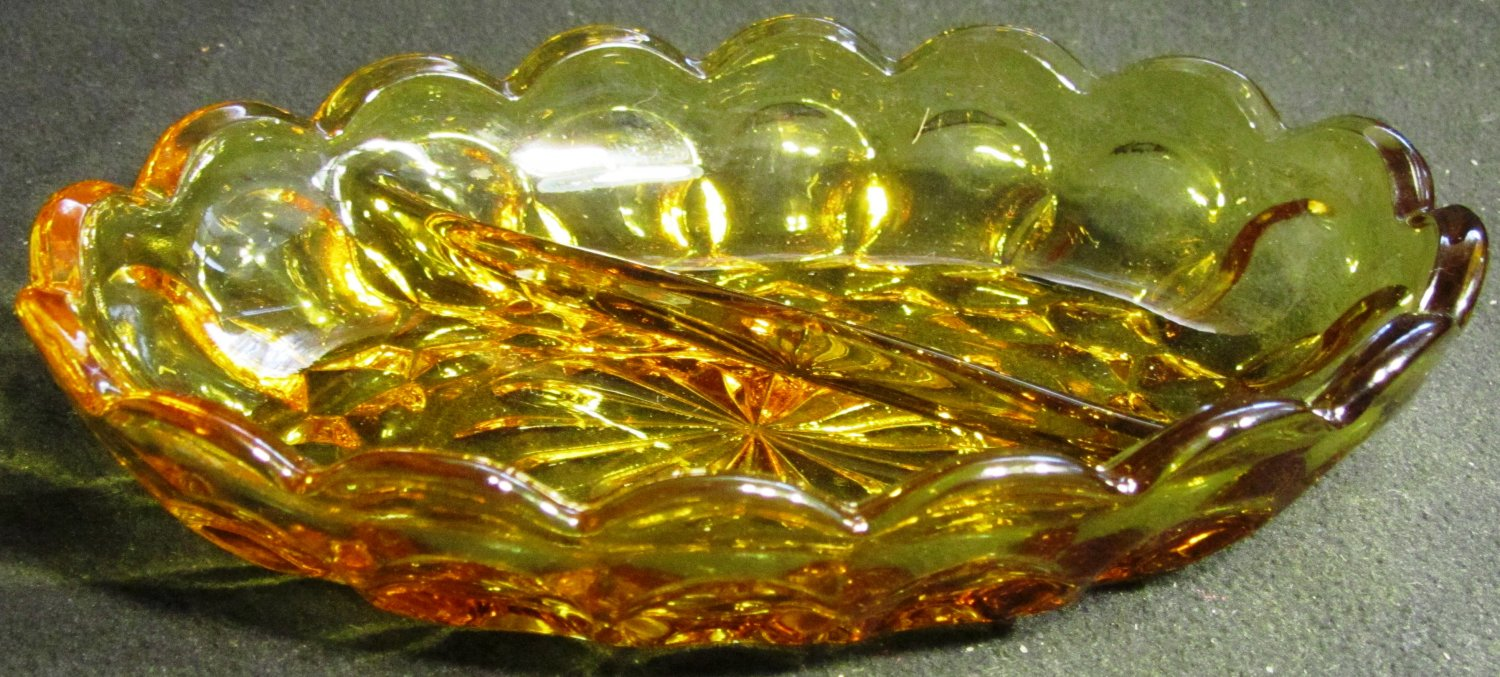 VINTAGE INDIANA GLASS THUMBPRINT AMBER DIVIDED CONDIMENT NUT DISH STARBURST