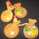 VINTAGE WOODEN CASTANETS SET OF 2 ROLO.OLE DANCING COUPLE SPAIN