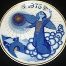 SANTA CLARA BLUE GOLD PORCELAIN COLLECTIBLE PLATE #2330 MARIA MENDEZ ANGEL