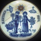 SANTA CLARA BLUE GOLD PORCELAIN COLLECTIBLE PLATE #2671 MARIA MENDEZ CHRISTMAS