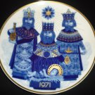 SANTA CLARA BLUE PORCELAIN COLLECTIBLE PLATE #5479 MARIA MENDEZ CHRISTMAS 1971
